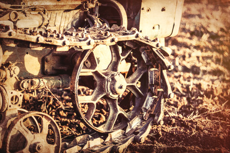 old tractor: Old tractor mechanisms. Photo in old color image style, Stock Photo