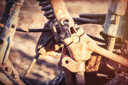mechanisms: Old tractor mechanisms. Photo in old color image style, Stock Photo