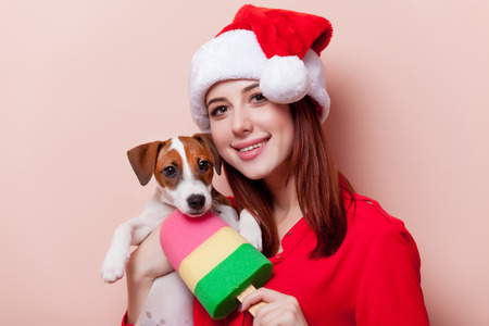 jack russell terrier puppy: Portrait of a young redhead woman in Santa Claus hat with jack russell terrier puppy on pink background