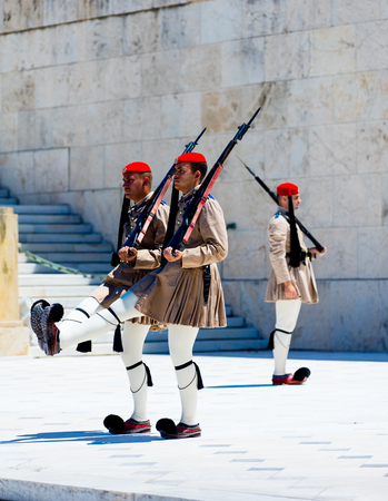 down town: ATHENS, GREECE - 06 JUNE 2016: View on the guard near a palace in the down town of Athens, Greece