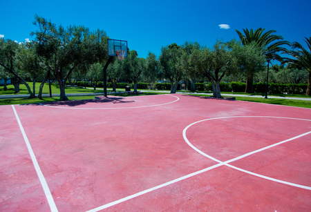 iron hoops: photo of the basketball playground in Greece