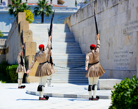 down town: Athens, Greece - 06 June 2016: View on the guard near a palace in the down town of Athens, Greece Editorial
