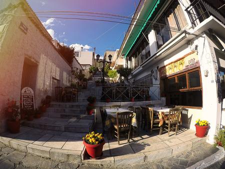 kalambaka: Kalambaka, Greece - 03 June 2016: Fisheye view on the street in Kalambaka, Greece