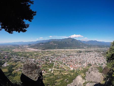 kalambaka: Kalabaka, Greece - 03 June 2016: Panoramic view on the city Kalambaka, Greece Stock Photo
