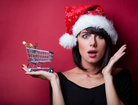portrait of the beautiful young woman with shopping cart on the vinous background Stock Photo