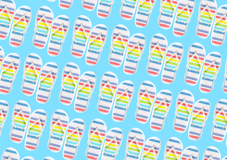 photo of colorful sandals on the wonderful blue studio background Stock Photo