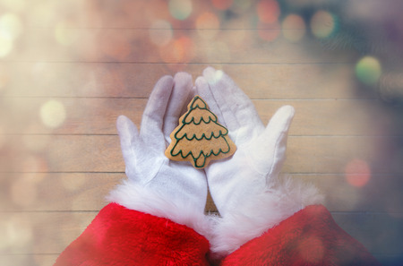 chrstmas: Santa Claus holding Chrstmas cookie on wooden background with bokeh