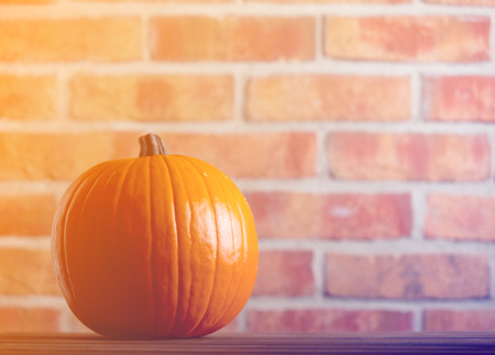 Autumn pumpkin on wooden table with brick wall at background