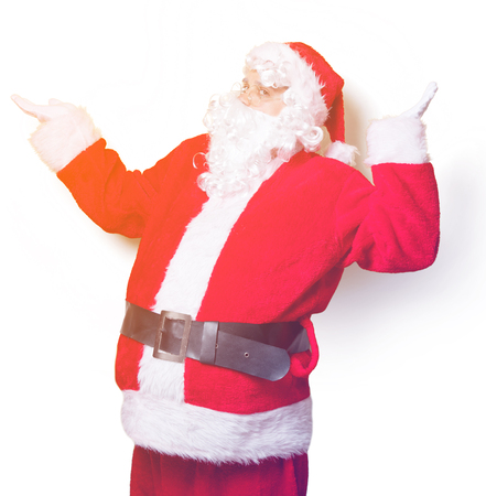 Funny Santa Claus have a joy on yellow background Stock Photo