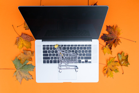 laptop computer and shopping cart with autumn maple leaves aroung at orange background Stock Photo