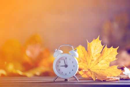 Vintage alarm clock and maple tree leaves on yellow wooden background with bokeh. Stock Photo