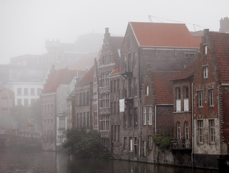 Middle Ages houses in Gent, Belgium in autumn time  Stock Photo