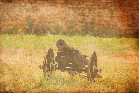 Old medieval cannon on grass near fortress wall on background.