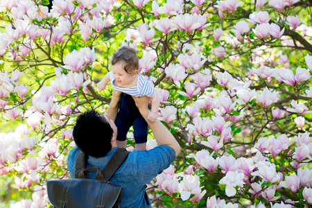 Young father and child have a leisure in springtime flowering Magnolia garden in sunny day.