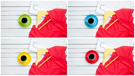 Collage in four images of red dress with hanger and cup of coffee on white wooden background