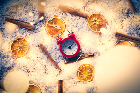 Vintage alarm clock with lemons and cinnamons on snow background with Fairy lights