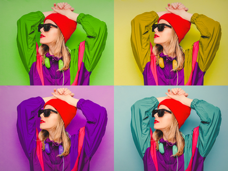 Collage of four images of a woman in red hat, sunglasses and suit of 90s with headphones on blue background.