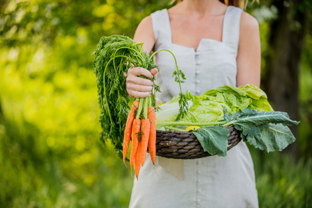 Young woman with vegetable basket at spring time outdoor Standard-Bild - 122874880