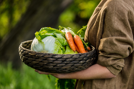 Young woman with apple and vegetable basket
