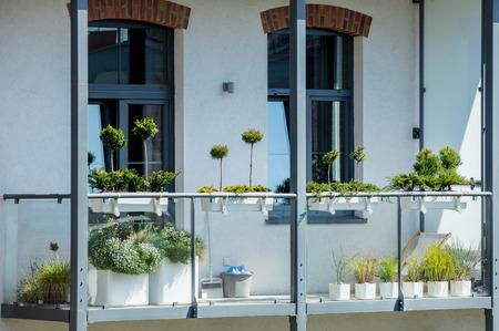 Modern exterior on balcony in loft apartments