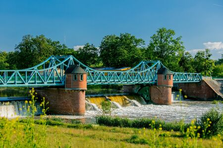 Barrier river of 1900s in Wroclaw, Poland Stock Photo