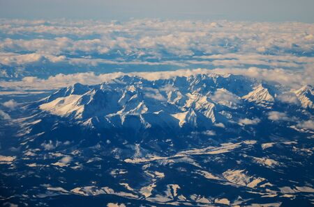 view of the Tatra mountains in winter from a height of ten thousand meters Banco de Imagens