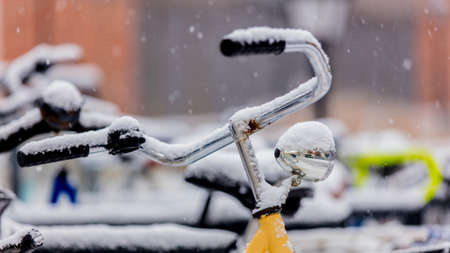 Beautiful style bike in snow after high snowfall in Europe.