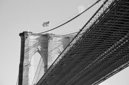 Bottom view of the Brooklyn Bridge B & W
