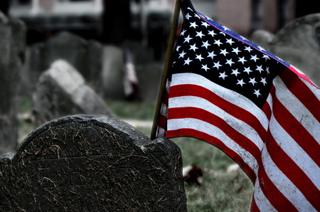 Detail of tombstone in Boston Banco de Imagens