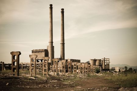 recycle area: An old romanian abandoned factory Stock Photo