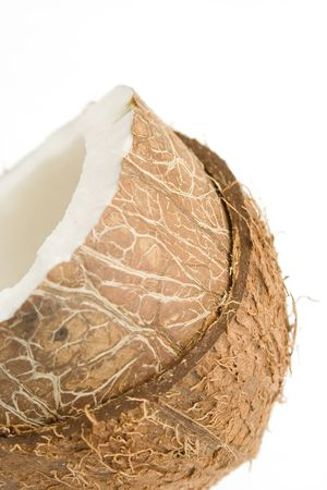 vegetate: Closeup of a coconut isolated on white background
