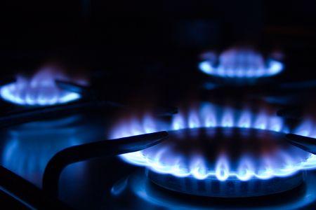 alight: Gas blu fiamme - stufa bruciatore  Archivio Fotografico