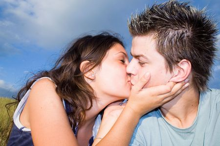 Couple Outside, kissing Stock Photo - 413018