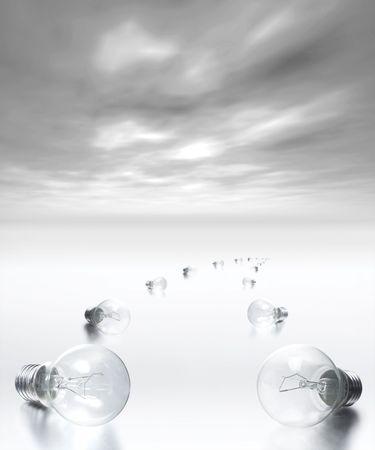 hypothesis: Concepto Idea - camino de bombillas