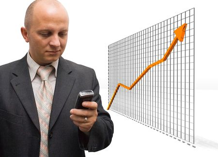 comparative: Confident Business Man announcing partners about financial growth Stock Photo