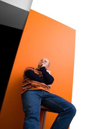 Man thinking, looking upwards photo