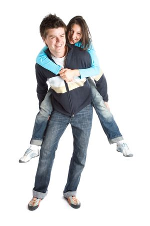 altogether: Young couple having fun - Studio Shot over white background