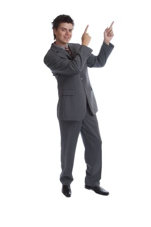 man pointing up: Business Man pointing up
