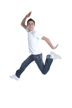 Funny young man in the air  little blur on feet  shutter 1200s Stock Photo
