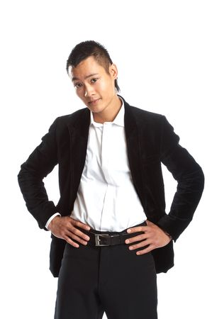 Great looking asian businessman shot in studio - asking
