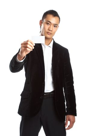 Great looking asian businessman shot in studio - businesscard photo