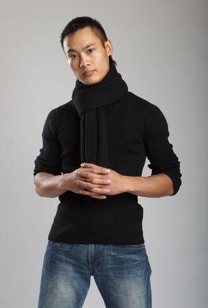 Great looking asian male model shot in studio photo