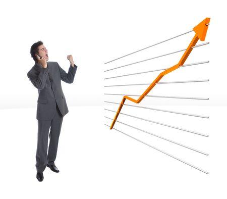 Modern Businessman happy beacause of growing finance chart photo