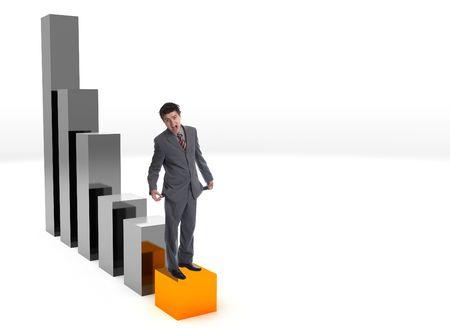 profiting: Uomo d'affari moderno sulla barra inferiore del grafico - soccombente