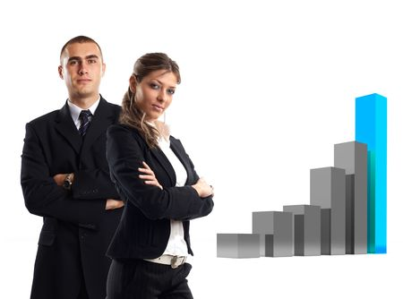 friendly competition: Modern Team satisfied with results - 3d finance graphic behind them Stock Photo