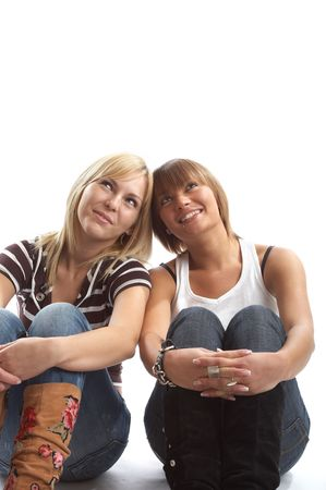 Best friends having a very good time in the studio Stock Photo