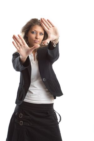 Great looking blond business woman shot in studio - formal pose photo