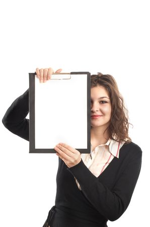 BusinessWoman with clipboard in front of her face