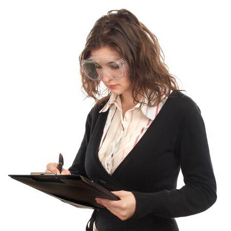 Weibliche Engineer / Inspector schriftlich in Zwischenablage  Standard-Bild