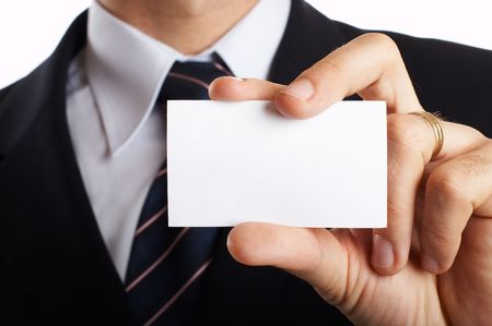 Young Modern Businessman Closeup - presenting his business card Stock Photo - 701236